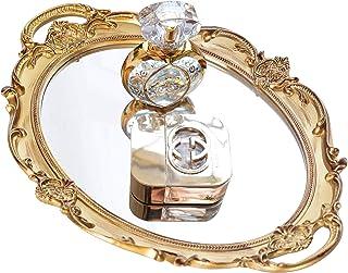 Mirrored Tray,Decorative Mirror for Perfume Organizer Jewelry Dresser Organizer Tray & Display,Vanity Tray,Serving Tray,9.8'' x 14''(Gold)