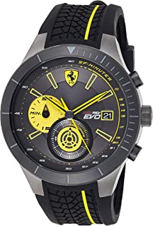 Ferrari Mens Quartz Watch, Analog Display and Rubber Strap 0830342