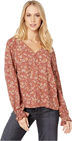 Long Sleeve Three-Button Heritage Bouquet Blouse