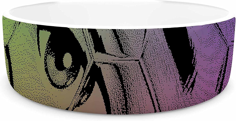 KESS InHouse Roberlan HEX Eye Decimal Black Green Abstract Pop Art Pet Bowl, 7  Diameter