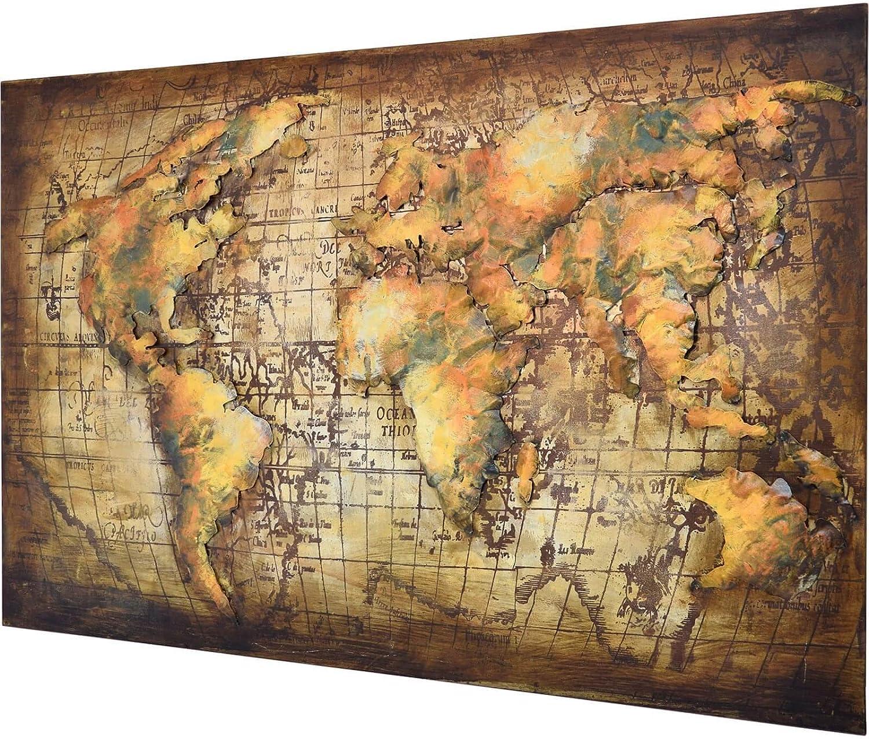 MBEL IDEAL 3D Metallbild Weltkarte Wandbild 120 x 80 cm Bild Erde aus Metall in Handarbeit Earth