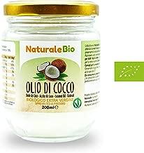 Olio di Cocco Biologico Extra Vergine 200 ml   Crudo e Spremuto a Freddo   Organico e Puro al 100%   Ideale sui Capelli, sul Corpo e ad Uso Alimentare   Olio di Cocco Bio Nativo e non Raffinato