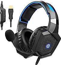 هدفون PC Stereo Gaming Over Over Ear Headphones 7.1 Surround Sound with Mic for PC / Mac / Laptop Gamer Headset with Noise Canceling Mic Design راحت و چراغ های LED