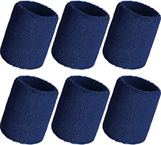 WILLBOND 6 Pieces Wrist Sweatbands Sports Wristbands for Football Basketball, Running Athletic Sports (Navy)