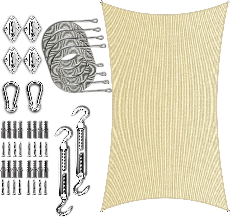 Amgo 14' x 16' Beige Rectangle Sail Shade Kit Sun Hardware Fort Worth Mall with Sacramento Mall