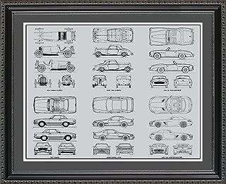 Mercedes Benz #1 Blueprint Collection Framed Car Art Gift, 20x24