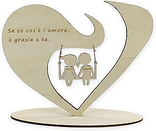 Cuore da Scrivania personalizzato in legno con frase e nomi a scelta Regalo di San Valentino e Anniversario per coppia reg...