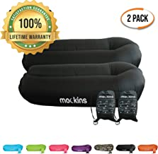 Mockins 2 Pack Black Inflatable Lounger Hangout Sofa Bed with Travel Bag Pouch The Portable Inflatable Couch Air Lounger is Perfect for Music Festivals Or Camping Accessories Inflatable Hammock