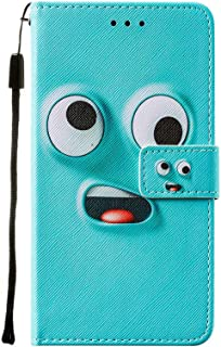 Miagon Wrist Strap Wallet Case for Samsung Galaxy A02,Funny Big Eye Design Pu Leather Magnetic Closure Soft Inner Bookstyl...