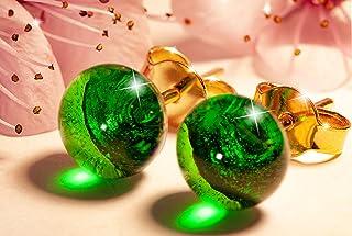 Orecchini Verde smeraldo in vetro di Murano, Creazioni Pireta, placcato in oro 18k, anallergico, fatto a mano, hand made, ...