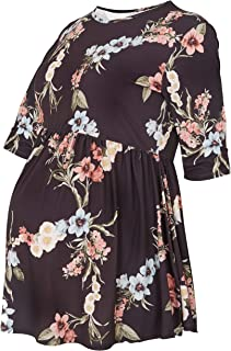 Yours Clothing Women/'s Plus Size Bump It Up Maternity Black Floral Top