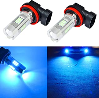 Alla Lighting 3200 Lumens Newest Version Ice Blue H11 LED Fog Lights Bulb High Power 3030 27-SMD Extremely Super Bright LED H11 Bulb for H16 H11 H8 LED Fog Light Bulbs, 8000K Ice Blue (Set of 2)