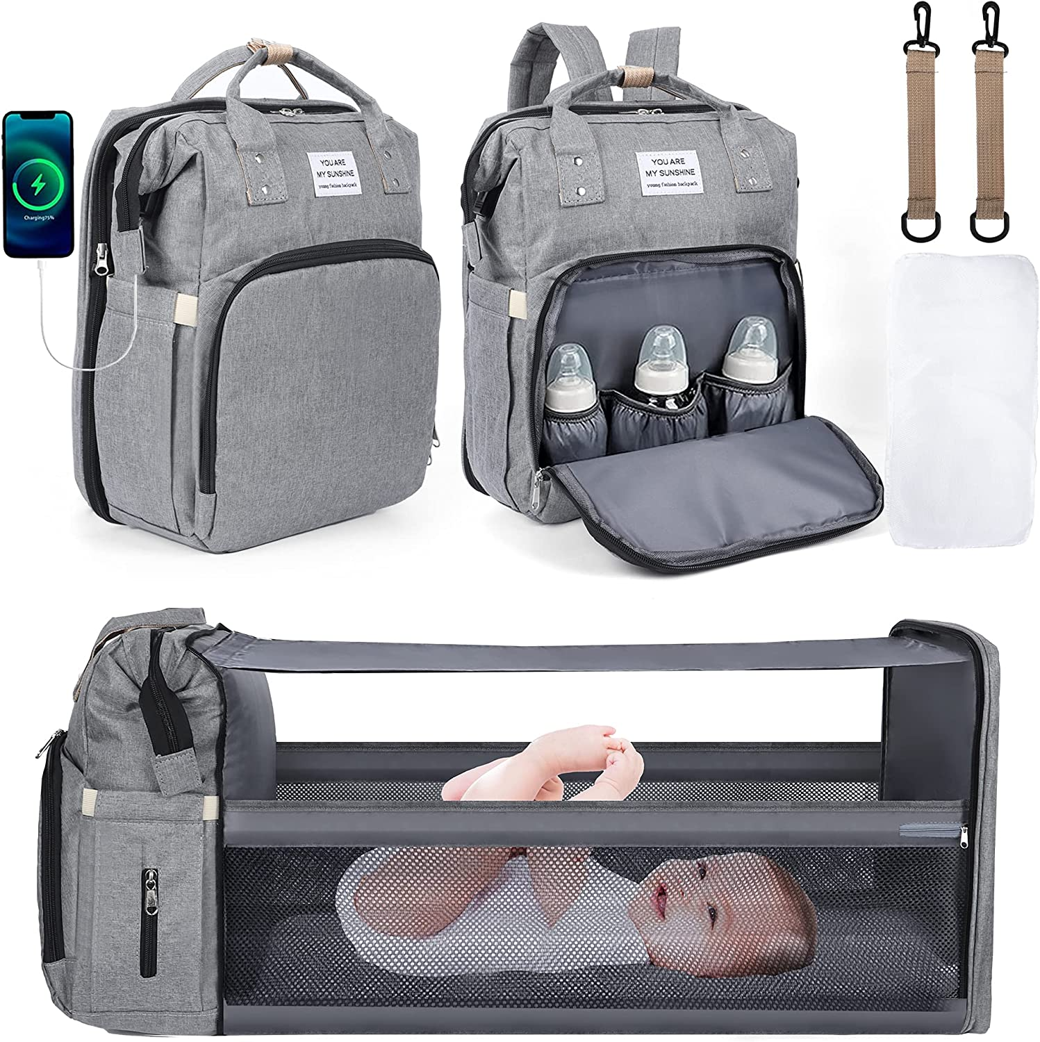 Diaper Bag Backpack, Baby Bag with Changing Station, Baby Must Haves, Diaper Bags for Boy & Girl, Travel Back Pack with Bassinet Bed Mat Pad, Portable Stroller Straps Large Capacity (Grey)