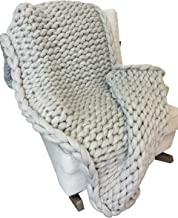 A Vision to Remember Large Chunky Knit Throw Blanket with Thick Acrylic Wool Yarn, Perfect for Bed, Chair, Sofa, Handmade