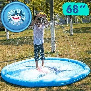 """JOYIN Sprinkler for Kids, 68"""" Shark Sprinkler & Splash Plat Mat for Toddlers Outdoor Toy Splash Pad"""