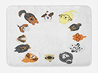 Ambesonne Dog Bath Mat, Various Different Dogs in Cartoon Style Looking up in Circle Characters, Plush Bathroom Decor Mat with Non Slip Backing, 29.5