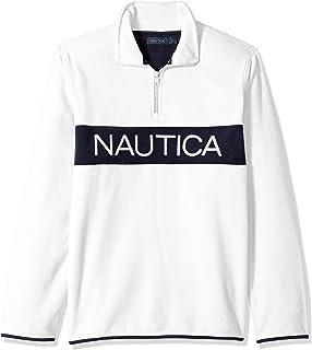 Nautica 男士抓绒 1/4 拉链方块标志运动衫