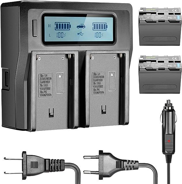 Neewer 6600mAh Li-Ion Batería para Sony NP-F970NP-F970NP-F960NP-F975NP-F570NP- F750NP-F770y LCD Doble Cargador CN160nw75974K 760LED Video antorcha Monitor