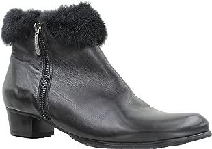 Regarde Le Ciel Stefany 03 Black Leather/Fur Collar Dress Boot, 40 EU