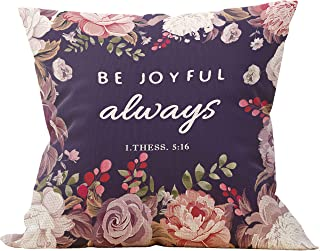 Mancheng-zi Be Joyful Always Bible Verse Religious Throw Pillow Case, Gift for Christian Women, Thessalonians 5:16-17, Decorative Cotton Linen Cushion Cover for Sofa Couch Bed 18 x 18 Inch