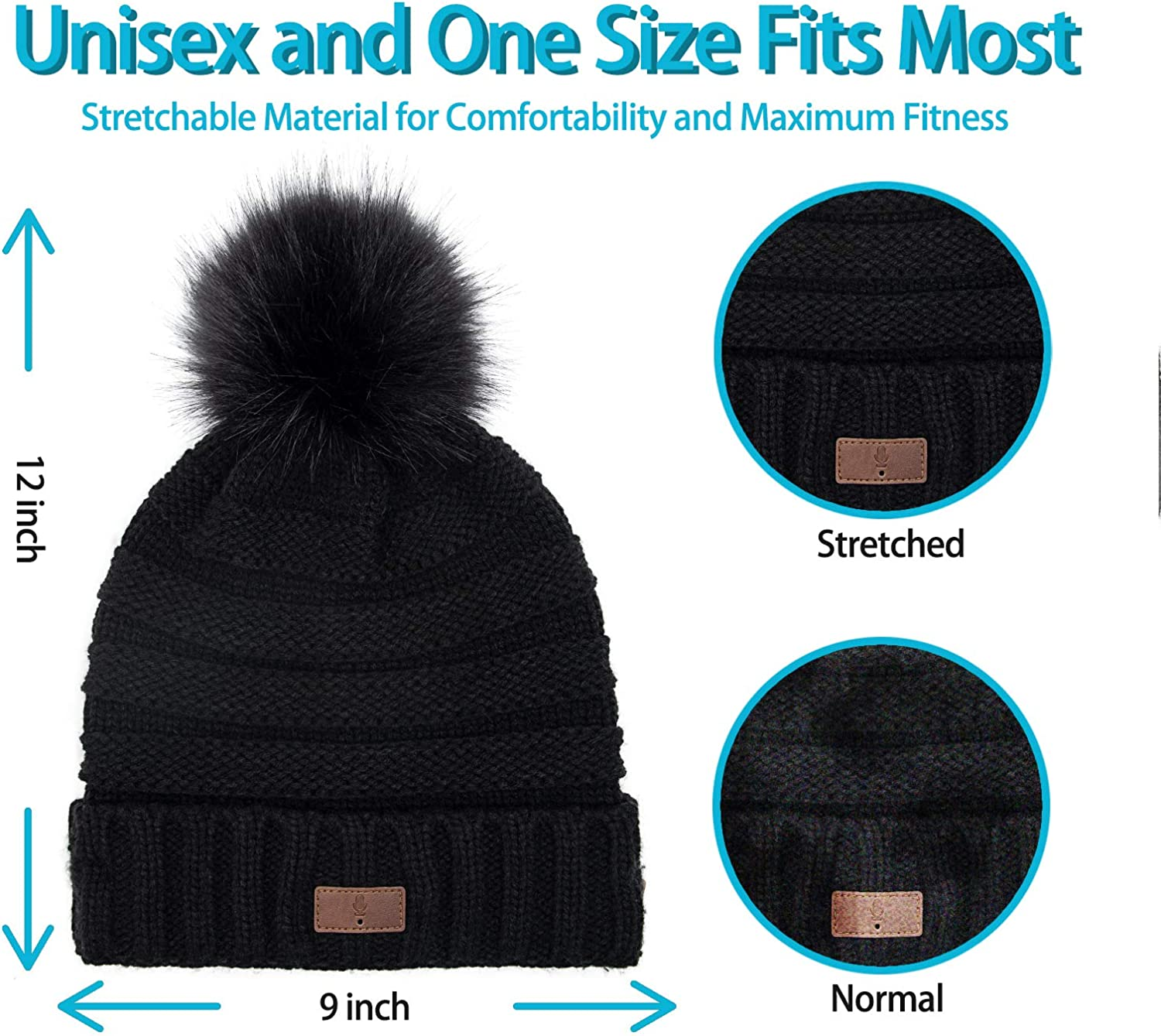 SAMYERLEN Upgraded Voice Control Bluetooth Beanie 5.0 Hat with Headphones Music Hat Built-in Mic Suitable for Men Women Outdoor Sports Men-Black Birthday Gifts for Christmas