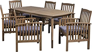 Great Deal Furniture Alma Acacia Patio Dining Set, 6-Seater, 71