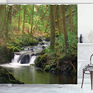 Ambesonne Nature Shower Curtain, Stream Flowing in Forest Mossy Rocks Tree Foliage Splash Summertime Hiking, Cloth Fabric Bathroom Decor Set with Hooks, 70