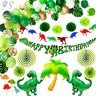 Dinosaur Party Supplies Birthday Decorations for Boys and Girls | Balloon Arch Garland Kit, Happy Banner, TRex, Palm Tree ...