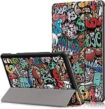 Billionn-AE Case for New Lenovo TAB M10, Slim Folio Trifold Stand Protective, Premium Leather Smart Cover for Lenovo Tab M10 (TB-X605F) 2018 Model Tablet, Graffiti