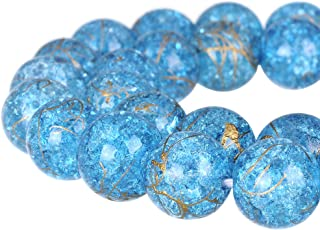 RUBYCA Round Crackle Druk Czech Crystal Pressed Glass Beads for Jewelry Making 10mm Strand (Blue)