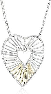 "10K Beaded Heart Rhodium Chain Necklace, 18"""
