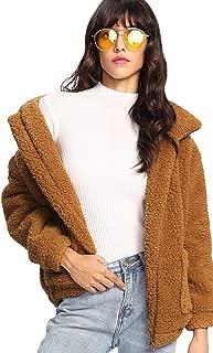 MAKEMECHIC 女式长袖拉链双口袋人造毛皮外套 驼色 X-Large