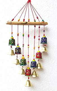 revive creation Wood Colored Bells Design Wall Hanging Decorative Showpiece (20 x 45 x 5 cm, Multicolour)