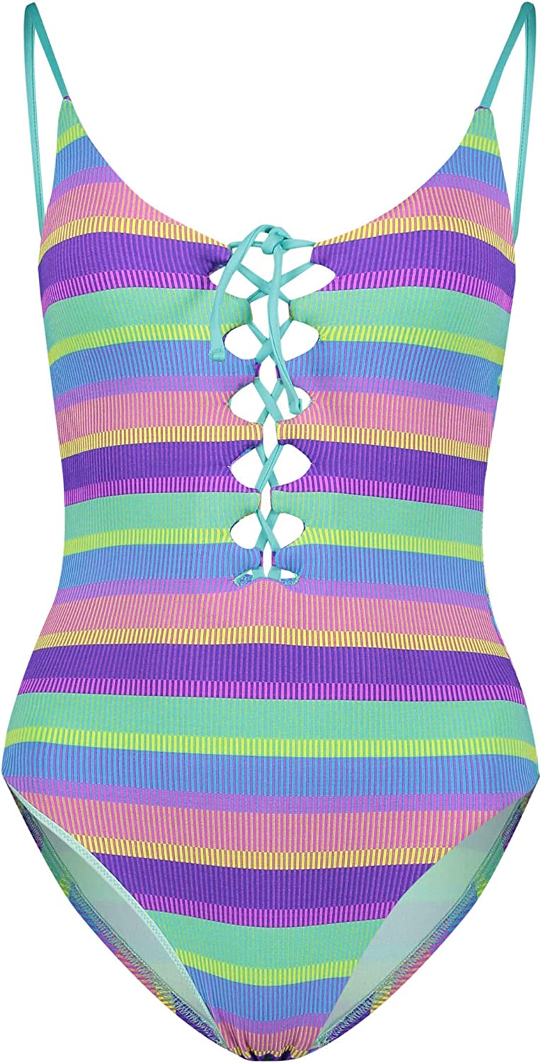 Seafolly Women's Standard V Neck One Piece Swimsuit with Lace Up Front