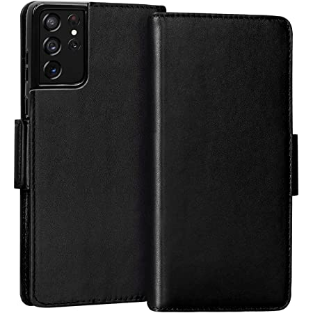 """FYY Case for Samsung Galaxy S21 Ultra 5G 6.8"""" Luxury [Cowhide Genuine Leather][RFID Blocking] Wallet Case Handmade Flip Folio Case Cover with [Card Slots] for Galaxy S21 Ultra 5G Black"""