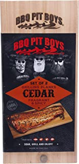 BBQ Pit Boys Grilling Planks - 2 Pack Premium Western Cedar for Barbecue Steak, Burgers, Pork Chops, Fish and More!