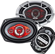 Pair of SoundXtreme 6x9 520 Watt 4-Way Red Car Audio Stereo Coaxial Speakers - ST694 (2 Speakers)