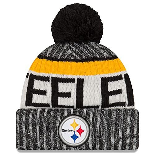 New Era Knit Pittsburgh Steelers Black On Field Sideline Sport Knit Winter  Stocking Beanie Pom Hat 84837b392be