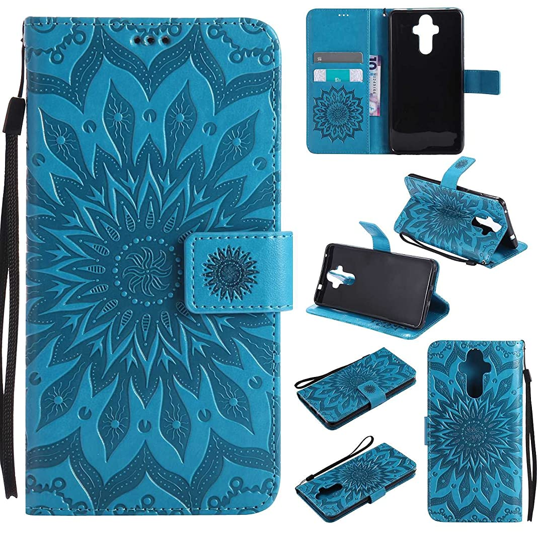 バーストメディック賭けZeebox 高級 Huawei Mate 9 手帳型 PU ケース, 絶妙 ファッション マンダラ花 エンボス加工 模様 薄型 簡約風 人気カバー 防塵 耐衝撃 マグネット開閉 折り スタンド機能 Huawei Mate 9 保護 カバー, 青