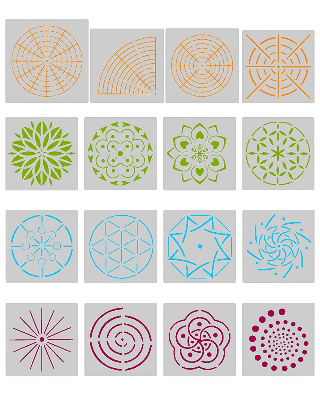 Biubee 16 Pcs Plastic Dotting Stencils- Different Patterns Dot Painting Templates for Stone Wall Art, Canvas, Wood Furniture Painting