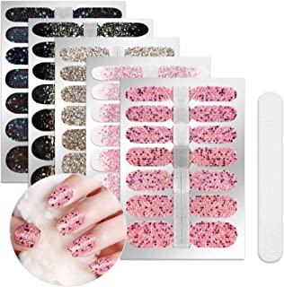 5 Sheets Full Nail Wraps Art Polish Stickers Decal Strips Adhesive False Nail Design Manicure Set With 1Pc Nail Buffers FilesFor Women Girls