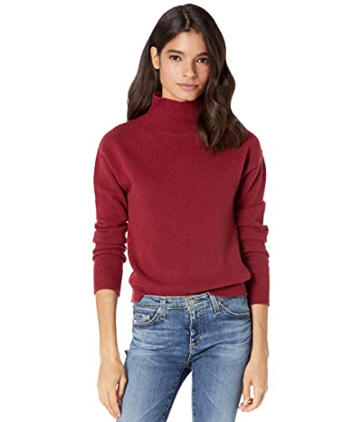 Majestic Filatures Wool Cashmere Long Sleeve Mock Neck Sweater (Berry) Women