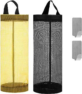 Hapurs Plastic Bag Holder and Dispenser for Grocery Bags, Plastic Bag Holder Hanging Folding Mesh,Garbage Bag Organizer Wa...