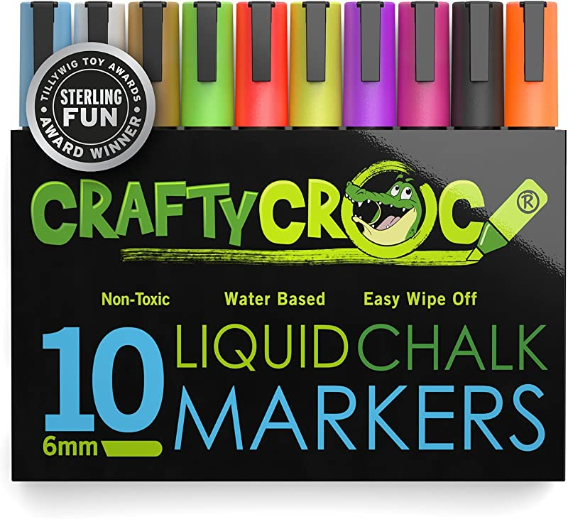 Crafty Croc Liquid Chalk Markers 10 Pack Of Neon Chalk Pens For Nonporous Chalkboards Bistro Boards Glass And Windows