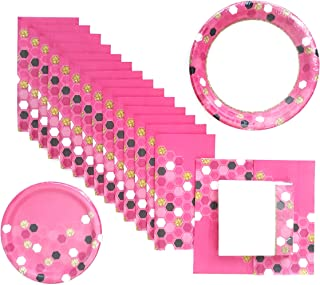 pink and black party plates