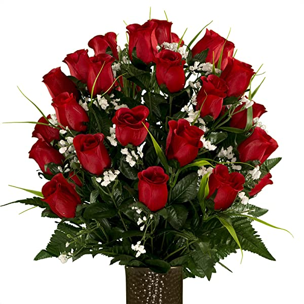 Artificial Cemetery Flowers For Outdoor Grave Decorations Red Roses With Lily Grass Fake Flowers Non Bleed Colors With Stay In The Vase Design