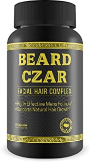 The Beard Czar-Facial Hair Complex- Highly Effective Mens Formula- Supports Natural Hair Growth-Improve Beard Quality and Nourishment-60 Capsules