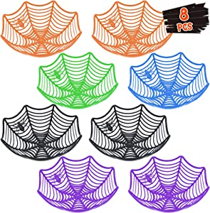 8 Pack Large Halloween Spider Web Plastic Basket Candy Bowls for Halloween Trick or Treat Hand Grabbing Candy Food Snack Holder Bowls, Halloween Party Supplies, Halloween Decorations for Office Home