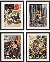 IDIOPIX Japanese Samurai Art Warriors Painting Wall Art Set of 4 Prints UNFRAMED No.6