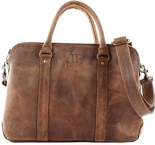 LECONI Damen Schultertasche DIN A4 Henkeltasche Umhängetasche Damentasche Aktentasche Businesstasche Leder 38x26x11cm LE3065